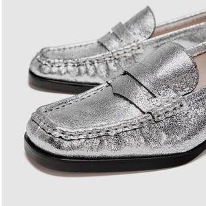 Zara Metallic Silver Leather Loafers